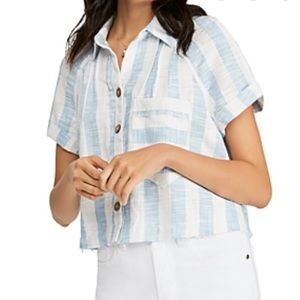 Free People Away At Sea Striped Cropped Top